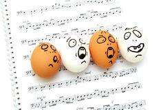 Crazy eggs singing Stock Photography
