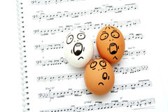 Crazy eggs singing Royalty Free Stock Photo