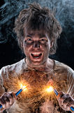 Crazy electrician Stock Photography