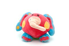 Crazy elephant. Stuffed toy, more or less resembling an elephant, isolated on white Stock Photos