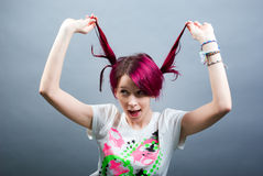 Crazy emo girl Royalty Free Stock Photography