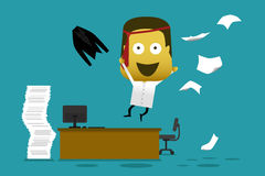 Crazy employee jump from his desk and throwing document Stock Photo