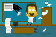 Crazy employee jumping in office and throwing document Stock Images