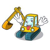 Crazy excavator mascot cartoon style. Vector illustration Stock Photo