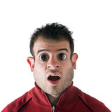 Crazy Eyed Man. Funny looking man with large eyes and a fat face.  Digital photo manipulation Royalty Free Stock Photos
