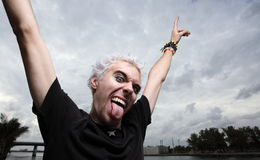 Crazy face. Man with a crazy facial expression Royalty Free Stock Photography
