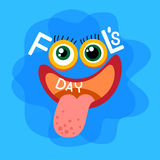Crazy Face Show Tongue First April Fool Day Happy Holiday. Flat Vector Illustration Stock Photography