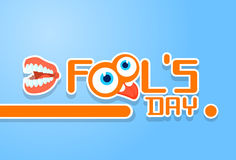Crazy Face Show Tongue Store Teeth First April Fool Day Happy Holiday. Flat Vector Illustration Royalty Free Stock Image