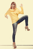Crazy fashionable woman in full length Royalty Free Stock Images