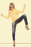 Crazy fashionable woman in full length Royalty Free Stock Image