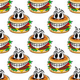 Crazy fast food cheeseburgers seamless pattern Royalty Free Stock Photography