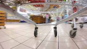 Crazy fast speed of supermarket trolley stock footage