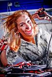 Crazy female mechanic Royalty Free Stock Image