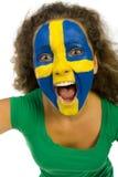 Crazy female sport's fan Royalty Free Stock Image
