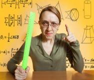 Crazy female teacher Stock Image