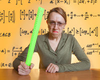 Crazy female teacher Stock Images