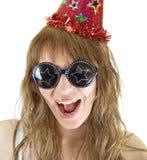 Crazy festive. Happy crazy festive woman isolated on white background Stock Photo