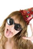 Crazy festive. Happy crazy festive woman isolated on white background Royalty Free Stock Image