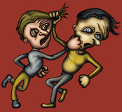 Crazy fight. Illustration a fight between two cartoon people Stock Images