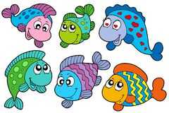 Crazy fishes collection. Illustration Stock Image
