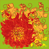 Crazy flower. Bright red decorative flower on an acid green background which gives the impression of motion Royalty Free Stock Photo