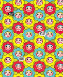 Crazy flowers with faces seamless background. Royalty Free Stock Photos