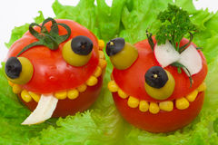 Crazy food - tomatoes stuffed chicken salad Royalty Free Stock Image