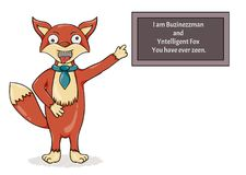 Foolish fox.Misspelled text as a sign of madness. Crazy and foolish fox. Illustration contains misspelled text as a sign of madness: I am Buzinezzman and stock illustration