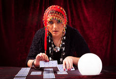 Crazy Fortune Teller With CArds Stock Images