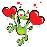 Crazy frog in love. Crazy frog jumping excited, holding two big hearts and having hearts instead of eyes Royalty Free Stock Photos