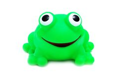 Crazy Frog Toy (isolated). Funny crazy frog toy on a white background with pretty shadow Stock Photography