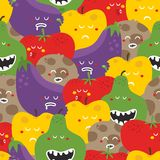 Crazy fruits and vegetables seamless pattern. Stock Photos
