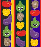Crazy fruits and vegetables seamless pattern. Royalty Free Stock Photo