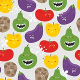 Crazy fruits and vegetables seamless pattern. Royalty Free Stock Photos