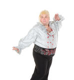 Crazy funny fat man posing wearing a blonde wig Royalty Free Stock Photography