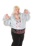 Crazy funny fat man posing wearing a blonde wig Stock Photos