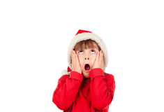 Crazy funny girl with Christmas hat Royalty Free Stock Photo