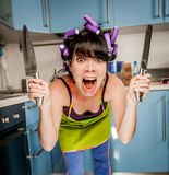 Crazy funny housewife Royalty Free Stock Image