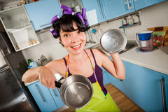 Crazy funny housewife Royalty Free Stock Photography