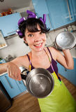 Crazy funny housewife Stock Photos