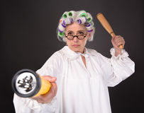 Crazy furious grandmother Royalty Free Stock Photography