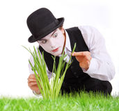 Crazy  gardener mime. Stock Image