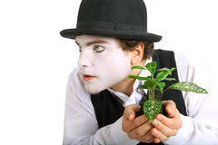 Crazy gardener mime. Royalty Free Stock Photos