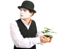 Crazy gardener mime. Royalty Free Stock Photography