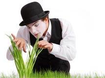 Crazy  gardener mime. Studio shot Royalty Free Stock Photos