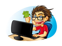 Crazy Geek. Cartoons young people with glasses who are crazy about computers with a mad expression and excessive happy with pleasure gets a commission from Stock Photo