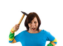 Crazy girl. Woman with hammer on white Stock Photography