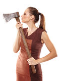 Crazy girl with axe Stock Images