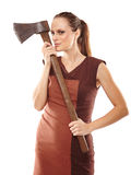 Crazy girl with axe Stock Photography