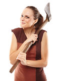 Crazy girl with axe Royalty Free Stock Photography